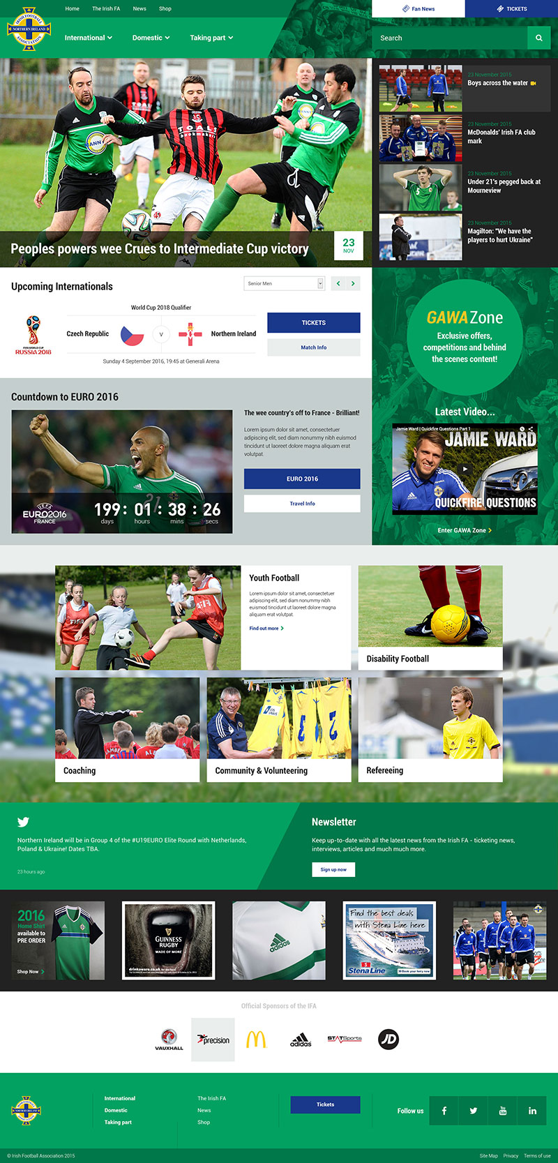 Irish FA Website full-page screenshot in situ